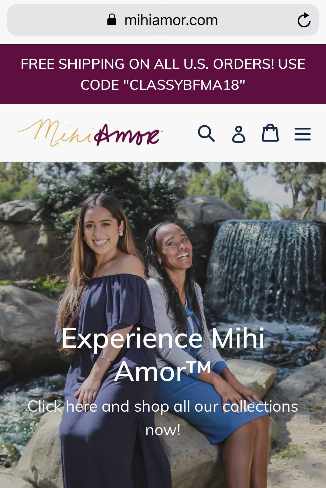 Mihi Amor website page